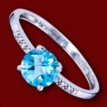 Diamantové prstene - Prsteň zlatý, diamanty, akvamarín, zásnubný