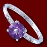 Diamantové prstene - Prsteň zlatý, diamanty, ametyst, zásnubný
