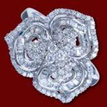 Diamantové prstene - Prsteň zlatý, diamanty, kvet