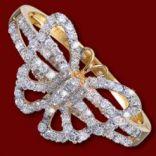 Diamantové prstene - Prsteň zlatý, diamanty, motýlik
