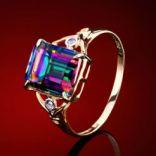 Diamantové prstene - Prsteň zlatý, diamanty, mystický topás