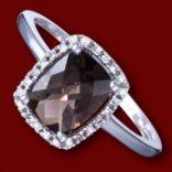 Diamantové prstene - Prsteň zlatý, diamanty, záhneda, zásnubný