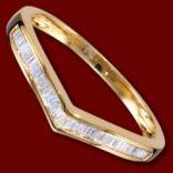 Diamantové prstene - Prsteň zlatý, diamanty, zásnubný, lomená obrúčka