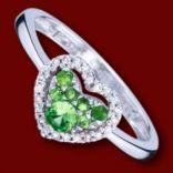Diamantové prstene - Prsteň zlatý, diamanty, zelené granáty, zásnubný