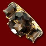 Diamantové prstene - Prsteň zlatý, dymový topás
