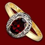 Diamantové prstene - Prsteň zlatý, granát, diamanty