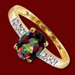 Diamantové prstene - Prsteň zlatý, mystický topás, diamanty