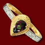 Diamantové prstene - Prsteň zlatý, mystický topás, diamanty, zásnubný
