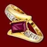Diamantové prstene - Prsteň zlatý, rubín, diamanty